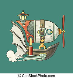 Cartoon steampunk styled flying airship with baloon and...