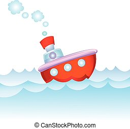 Cartoon steamship