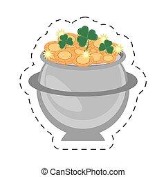 cartoon steel cauldron gold coin st patricks day