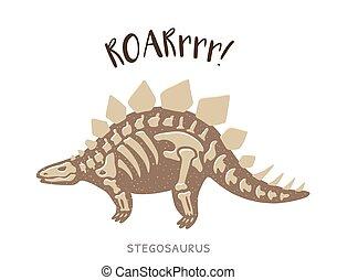 Cartoon stegosaurus dinosaur fossil. Vector illustration