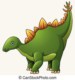 Cartoon Stegosaurus White Background