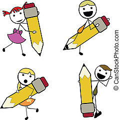 cartoon stick children pencil