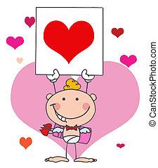 Cartoon Stick Cupid with Banner - White Boy Stick Cupid...