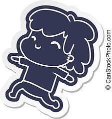 cartoon sticker kawaii boy with stubble