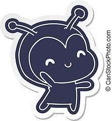 cartoon sticker kawaii of a cute lady bug