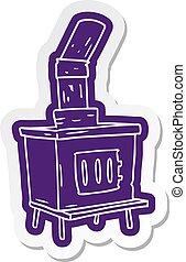cartoon sticker of a house furnace