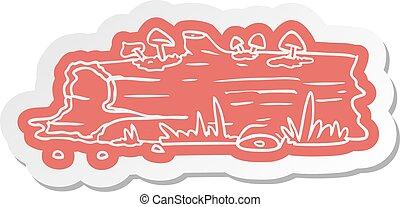 cartoon sticker of a tree log