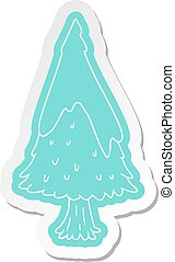 cartoon sticker single snow covered tree