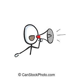 cartoon., stickman, drawn., dehors., announcement., cri, main, message., croquis, illustration, orateur, bruyant, griffonnage, vecteur, bullhorn, bruyant-hailer, graphique, porte voix
