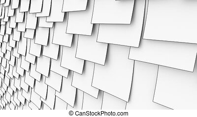 Cartoon sticky post it notes on the wall. Office paper work or memo concepts. 4K seamless loop dolly clip