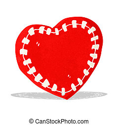 cartoon stitched heart