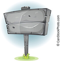 Cartoon Stone Advertising Sign