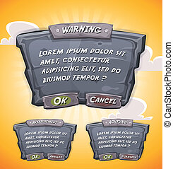Cartoon Stone Agreement Panel For Ui Game - Illustration of...