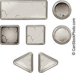 Cartoon stone buttons vector set. Interface for app, gui...