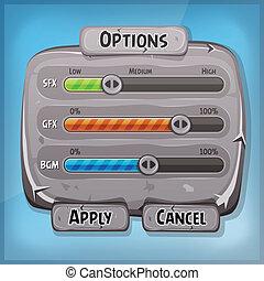 Cartoon Stone Control Panel For Ui Game