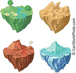 Cartoon Stone flying Island for Game, Vector Element