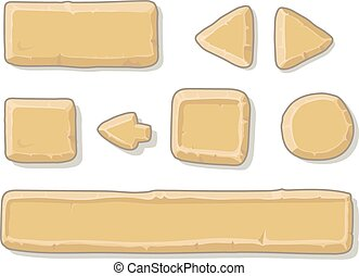 Cartoon stone game ui assets set, isolated on white, vector...