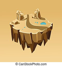 Cartoon Stone Isometric Island for Game, Vector Illustration
