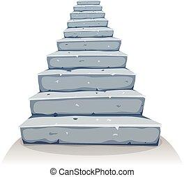 Cartoon Stone Stairs - Illustration of a cartoon funny rock ...