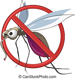Cartoon STOP Mosquito Isolated on White Background. Vector.