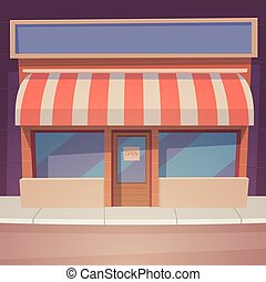 Cartoon Store - Front view of the store, cartoon vector ...