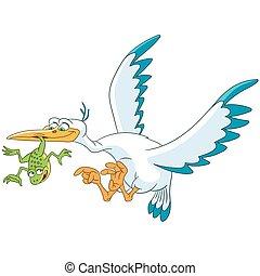 cartoon stork and frog - Cute and happy cartoon stork bird...