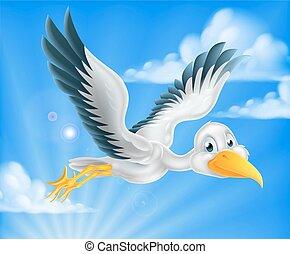 Cartoon stork bird animal character