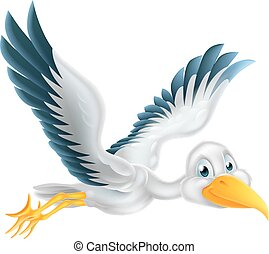 Cartoon stork bird flying