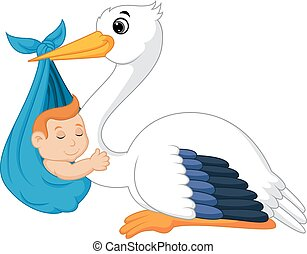 Cartoon stork carrying baby