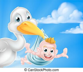 Cartoon stork holding baby