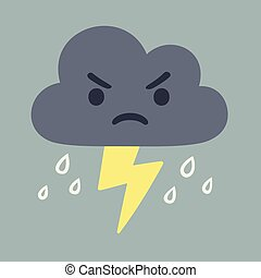 Angry storm cloud drawing with lightning and rain. Cute cartoon vector illustration.
