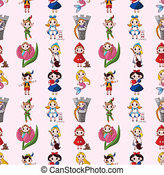 cartoon story people seamless pattern, cartoon vector illustration