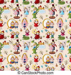 cartoon story people seamless pattern