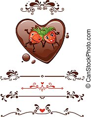 Cartoon strawberry and decorative elements