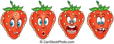 Cartoon Strawberry. Fruit Food Collection