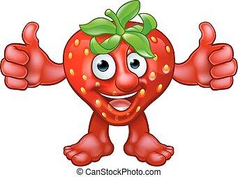 Cartoon Strawberry Fruit Mascot Character