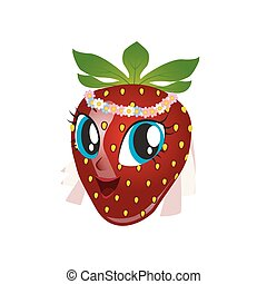 Cartoon strawberry giving thumbs up on a white background