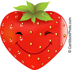 Cartoon Strawberry, Isolated On White Background, Vector...