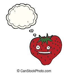 cartoon strawberry with thought bubble