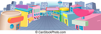 A colourful cartoon street of shops with blank signs