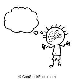 cartoon stressed boy