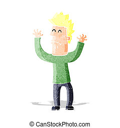 cartoon stresssed man