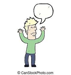 cartoon stresssed man with speech bubble