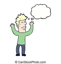 cartoon stresssed man with thought bubble