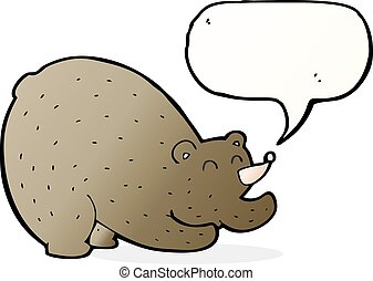 cartoon stretching bear with speech bubble