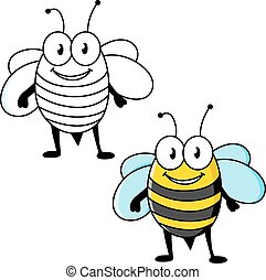 Cartoon striped bee insect with happy smile