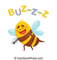 Cartoon striped bee. Vector illustration on a white background.