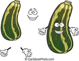 Cartoon striped green zucchini vegetable - Smiling cartoon...