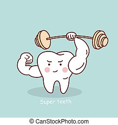 cartoon strong tooth with dumbbell - cute cartoon strong...