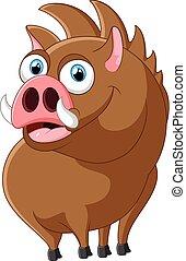 Cartoon strong wild boar